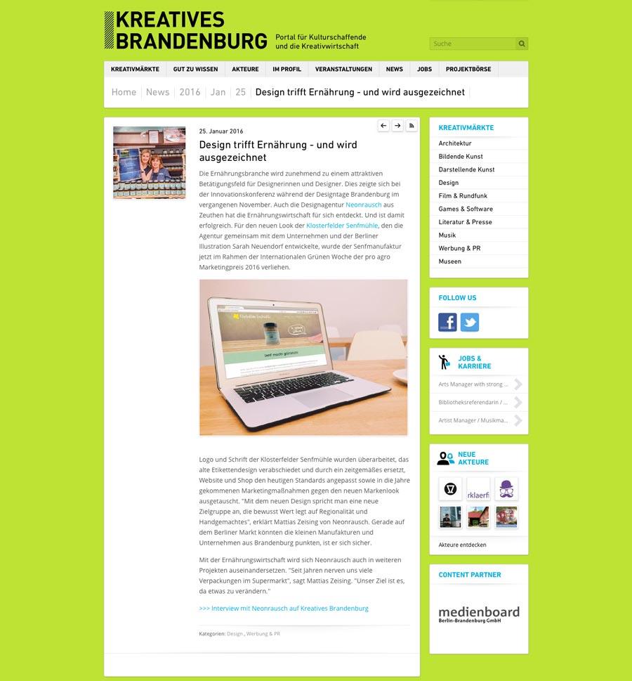 Artikel auf Kreatives Brandenburg