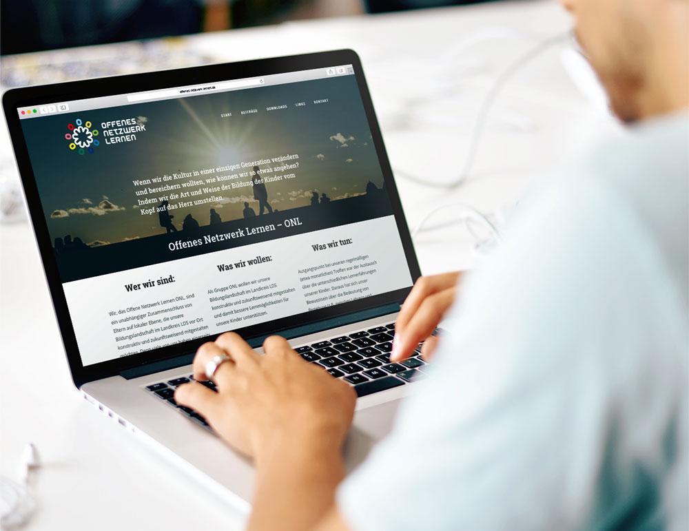 Screendesign Website Offenes Netzwerk Lernen