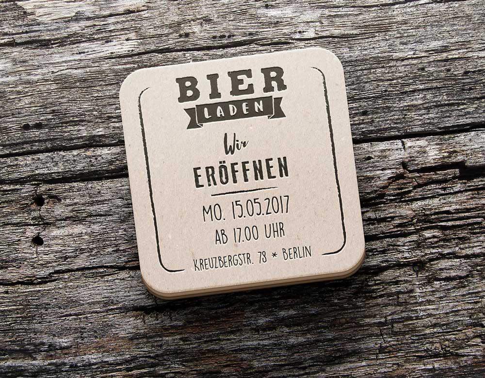 Bierdeckel-Einladung zur Eröffnung